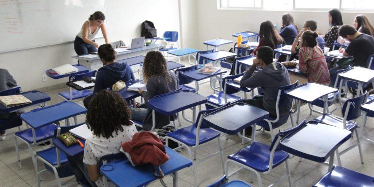 Sala de aula com alunos, na Cidade Universitária . Macaé, Rio de Janeiro-Brasil, 11/09/2018.
